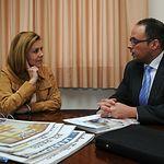 María Dolores Cospedal, que se ha reunido este martes con el director de Relaciones Institucionales de Mercadona en Castilla-La Mancha, José Ruiz.