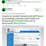 Pantallazo cuenta de Twitter @La9deAnon - Hackeo Web Ayuntamiento de Guadalajara