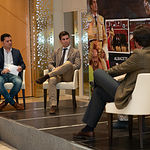 Rueda de prensa de Rubén Pinar para presentar a sus nuevos apoderados: el gerente de la empresa Tauroemoción, Alberto García y el diestro Eduardo Dávila Miura
