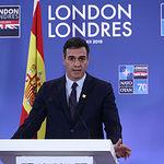 El presidente del Gobierno en funciones, Pedro Sánchez, durante su comparecencia en rueda de prensa, al término de la Cumbre. Foto: fervero-67