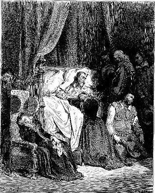"""""""La muerte de Don Quijote"""". Grabado de Gustavo Doré."""