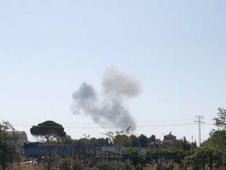 Un avión del Ejército del Aire se estrella en la base aérea de Los Llanos en Albacete. Foto: Marta Montero Fornes.