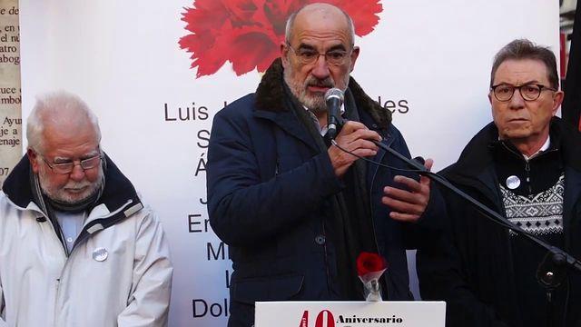 Alejandro Ruiz-Huerta, durante su intervención en el 40 aniversario de los Abogados de Atocha en Madrid. 24-01-2017.