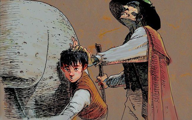 """Ilustración del Lazarillo con el ciego, que tiene una mano sobre la cabeza del niño, el cual está junto al toro de piedra. Esta imagen pertenece a la obra anónima cuyo título completo es """"La vida de Lazarillo de Tormes y de sus fortunas y adversidades""""."""