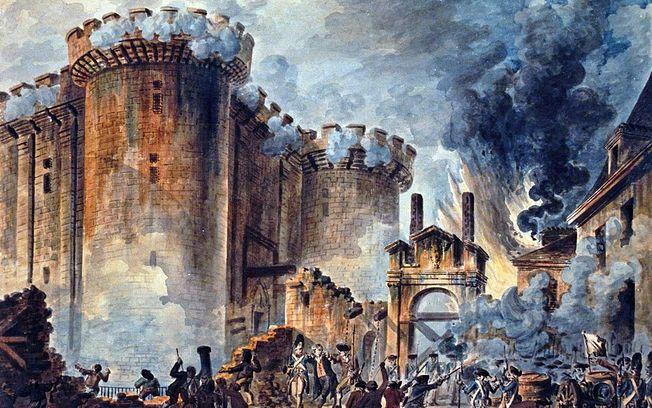 Óleo de la Toma de La Bastilla durante la Revolución Francesa. Obra de Jean-Pierre Houël - Biblioteca Nacional de Francia.
