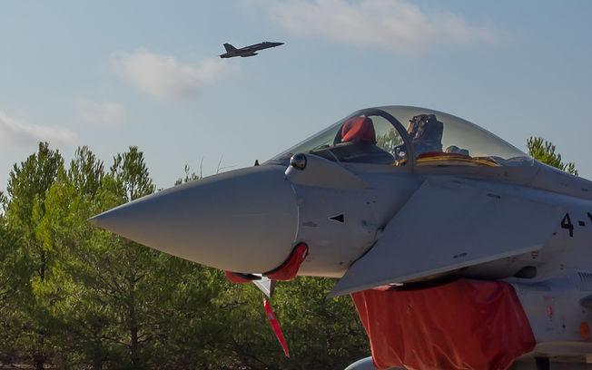 Imagen de archivo de un avión Eurofighter despegando en la Base Aérea de Los Llanos de Albacete.