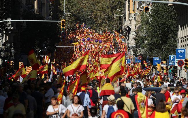 Manifestación en Barcelona, este 8 de octubre de 2017.