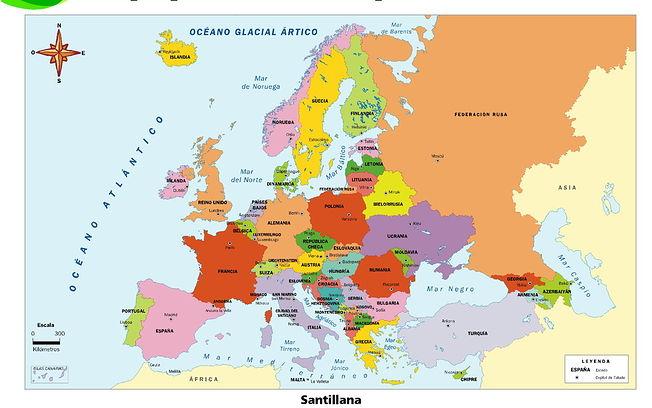 Mapa político de Europa.
