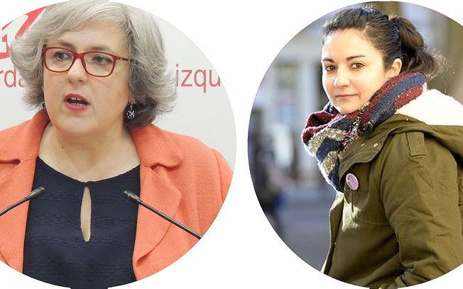 Isabel Álvarez, responsable del Área de la Mujer de IU CLM, y Raquel Iniesta, de Izquierda Unida de Cuenca.
